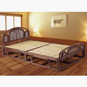 籐・ラタンのベッド/シングルフレーム/スノコタイプ